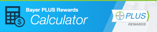 Bayer PLUS rewards calculator with logo and calculator image banner
