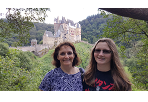 Dana Sargent with her daughter when they relocated to Germany