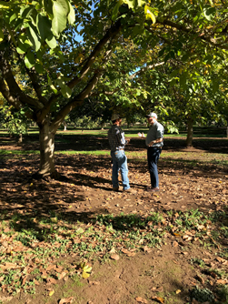 Brian Scott asks Justin Carney about his walnut operation just outside of Sacramento, CA