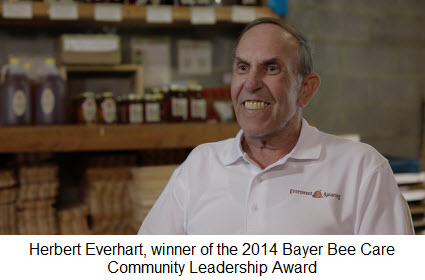 Herbert Everhart, winner of the 2014 Bayer Bee Care Community Leadership Award.