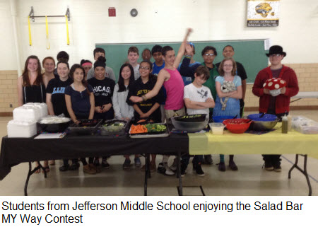 Students from Jefferson Middle School enjoying the Salad Bar MY Way Contest