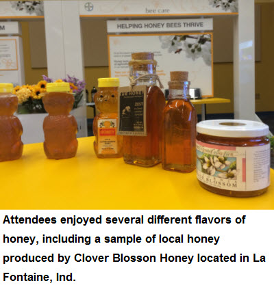 Attendees enjoyed several different flavors of honey; including a sample of local honey produced by Clover Blossom Honey located in La Fontaine, Ind.