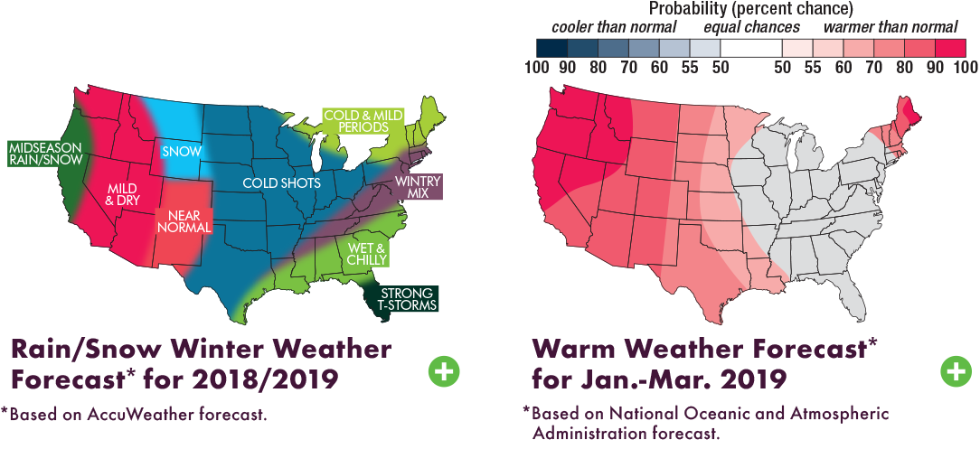 US country outline rain snow winter weather forecast for 2018 2019