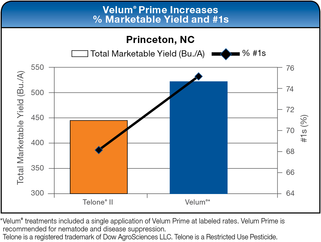 Velum Prime Increases % Marketable Yield and #1s