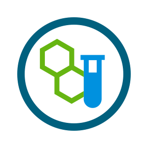 light blue test tube and green hexagonal molecule icon