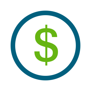 green dollar sign in blue circle icon