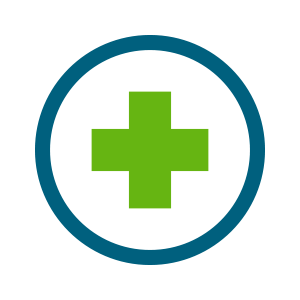 green health cross inside blue circle icon