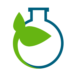 blue bottle icon with green seedling