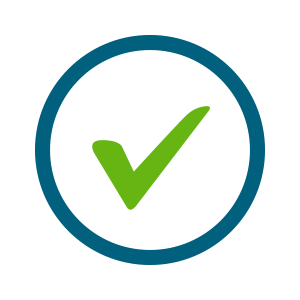 green checkmark within blue circle icon