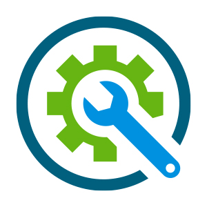 green gear around blue wrench icon