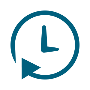 blue clock icon encircled by arrow