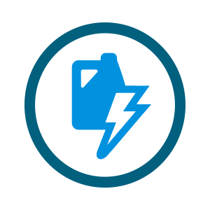light blue jug icon with lightning bolt adjacent