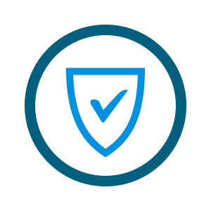 light blue shield with checkmark icon