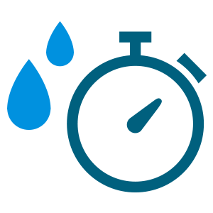 stopwatch icon with adjacent blue rain drops