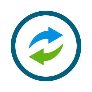 blue and green cycle icon with arrows