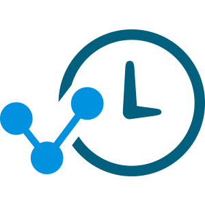 light blue molecule icon with clock face