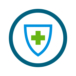 green health cross on shield icon