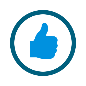 light blue thumbs up icon in blue circle