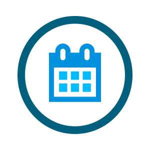 small green and blue calendar icon with a long time period highlighted