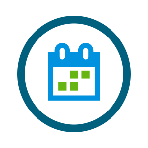 small green and blue calendar icon with a few days highlighted
