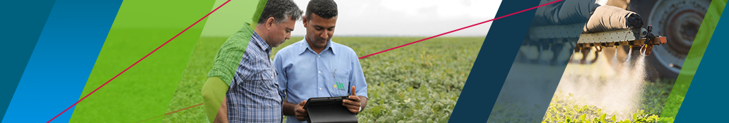 Growers in field analysing data on tablet