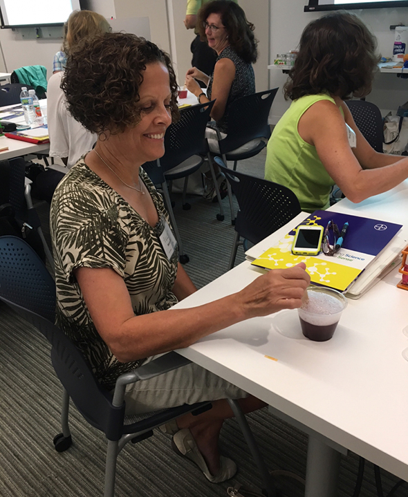 Science teachers perform hands-on pH experiments