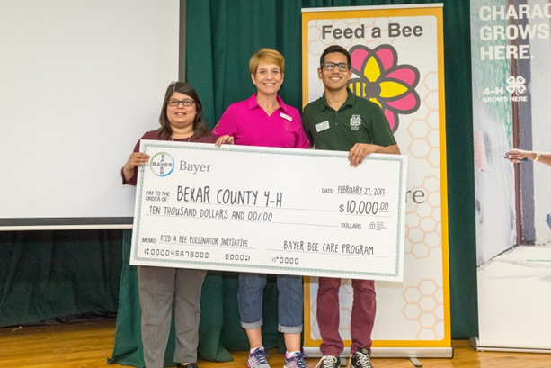 Bayer's Bee Care Program also presented the Texas 4-H Foundation with a $10,000 donation