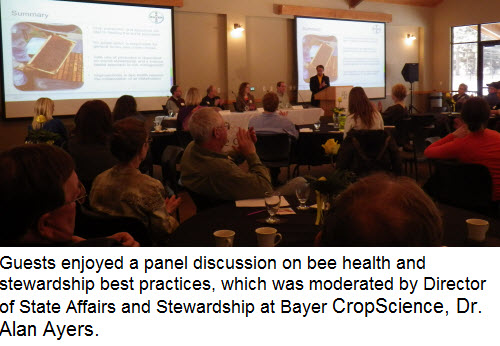 Guests enjoyed a panel discussion on bee health and stewardship best practices, which was moderated by Director of State Affairs and Stewardship at Bayer CropScience, Dr. Alan Ayers.