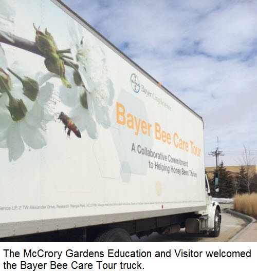 The McCrory Gardens Education and Visitor welcomed the Bayer Bee Care Tour truck.