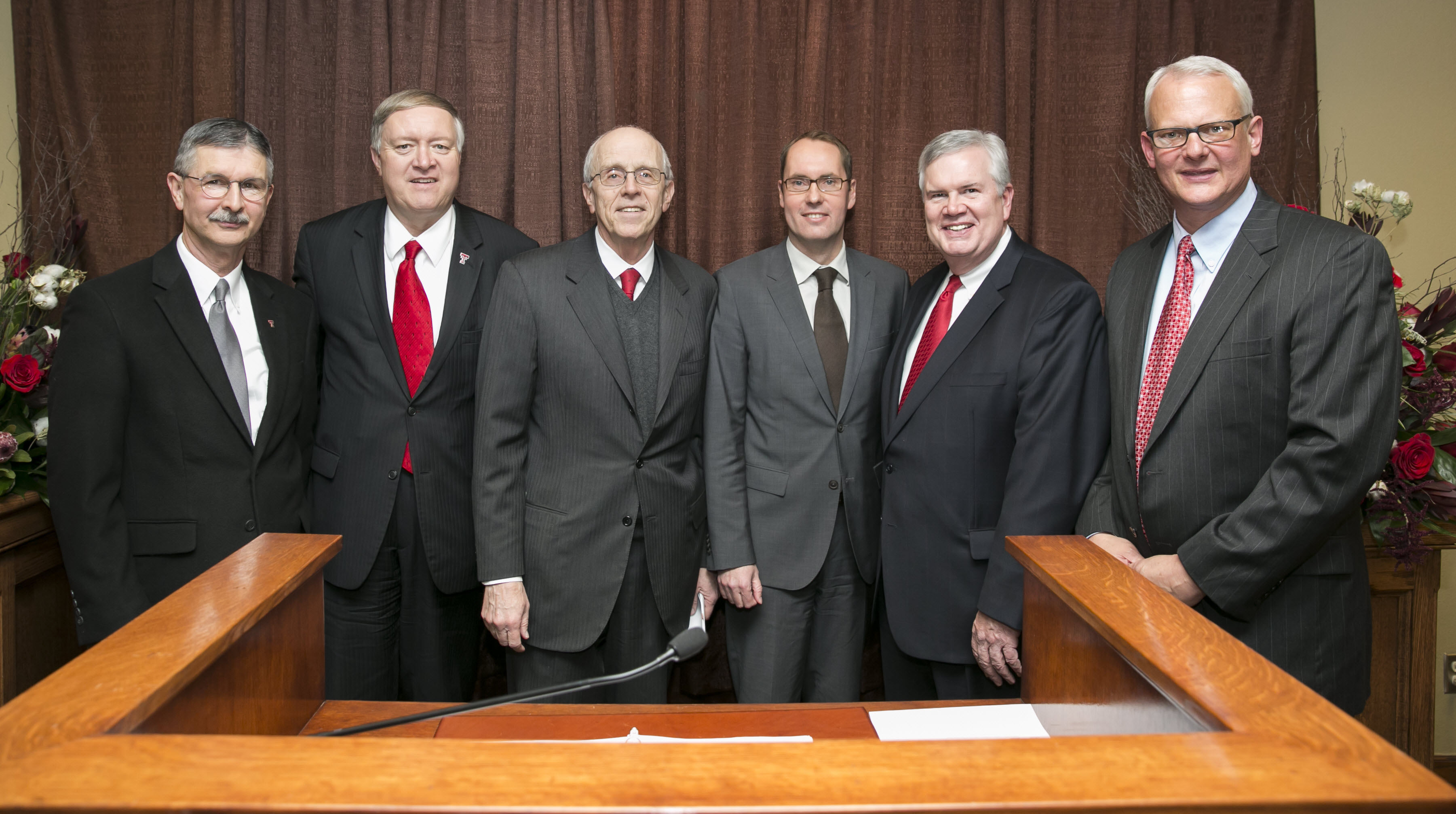 (L to R) Texas Tech University Dean, Michael Galyean; Texas Tech University   President, Duane Nellis, Frank Terhorst, Bayer CropScience Global Head of   Seeds, Mike Gilbert Head of Global Breeding and Trait Development,  Bayer CropScience Lee Rivenbark Head of Global Cotton and US Seed   Operations