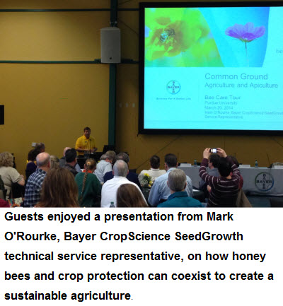 Guests enjoyed a presentation from Mark O'Rourke, Bayer CropScience SeedGrowth technical service representative, on how honey bees and crop protection can coexist to create a sustainable agriculture.